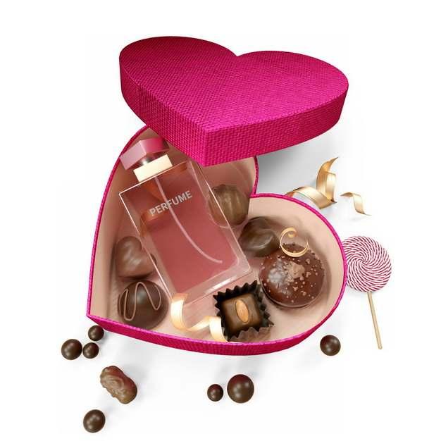 打开的红色心形礼盒中的各类巧克力和香水257866png图片素材