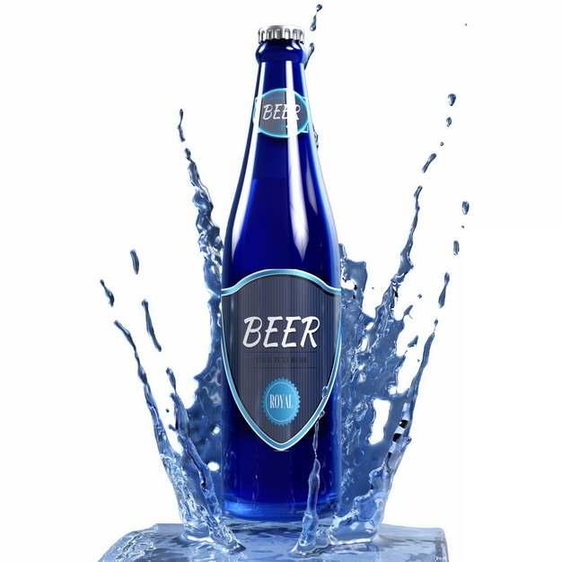 蓝色啤酒瓶砸出水花效果759737png图片素材