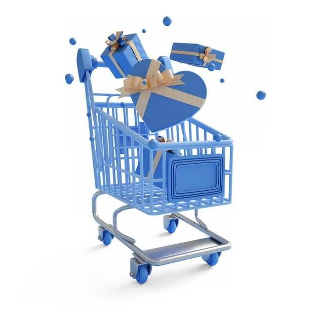 3D立体风格蓝色超市购物车和礼物盒289203png图片素材