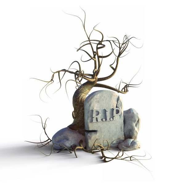 长着枯树的墓碑142019png图片素材