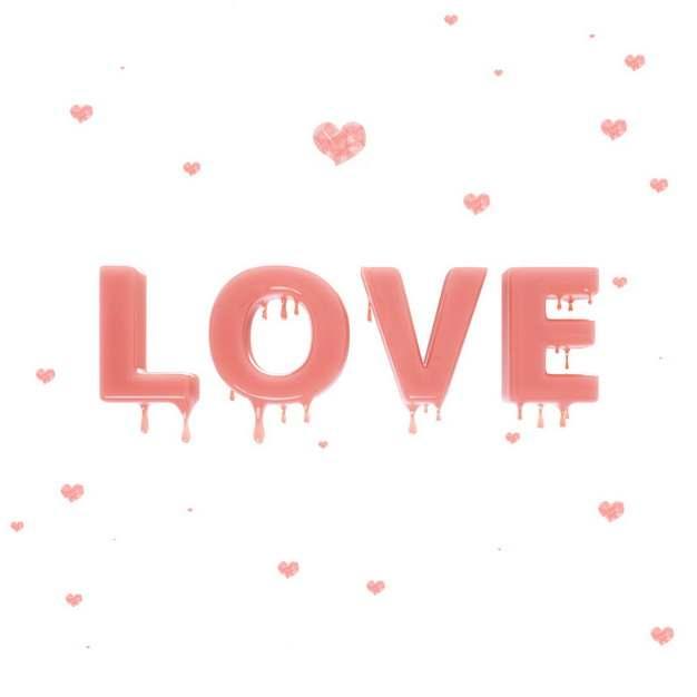 3D立体风格融化的粉色蜡烛LOVE字体957153png图片素材