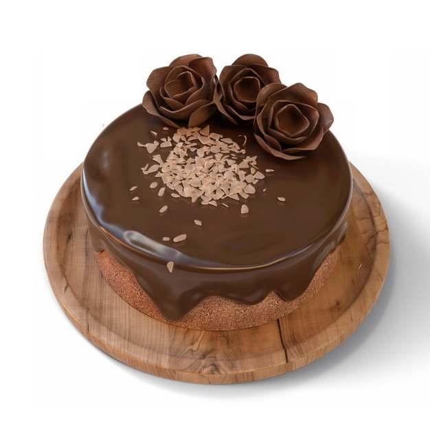 木盘上的巧克力蛋糕792072png图片素材