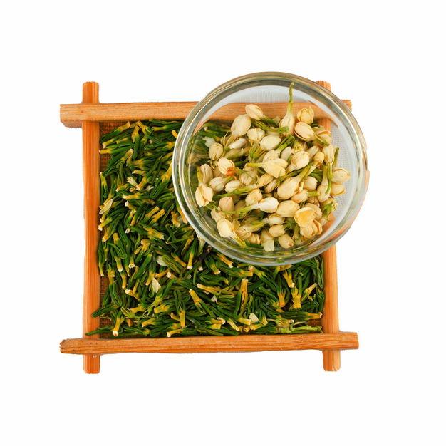 木头盘子中的葛花茶和玻璃碗中的茉莉花茶等养生花茶394464png图片免抠素材