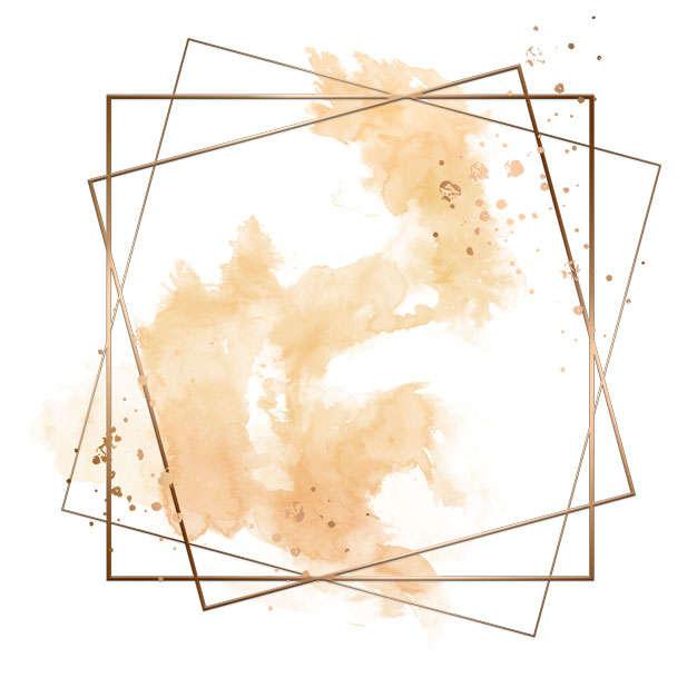 金色四边形边框和黄色墨水渍装饰913654免抠图片素材