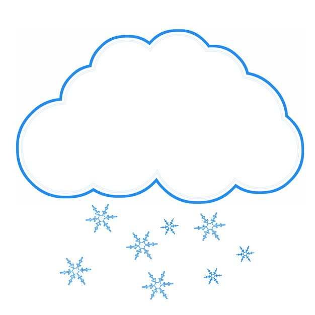 下雪天气预报蓝色线条文本框对话框933112PSD图片免抠素材