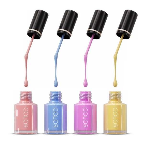 四种颜色的指甲油瓶子和使用效果638119png图片素材
