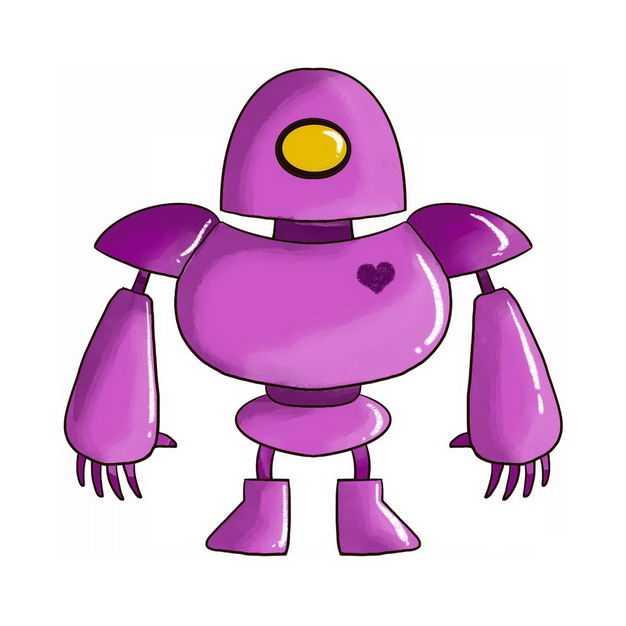 紫色卡通智能小机器人377202png图片免抠素材