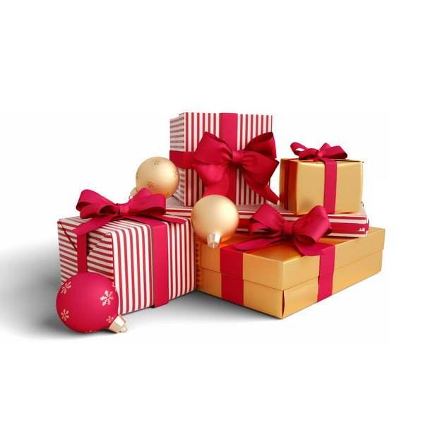 3D立体红色金色圣诞礼物441202png图片素材