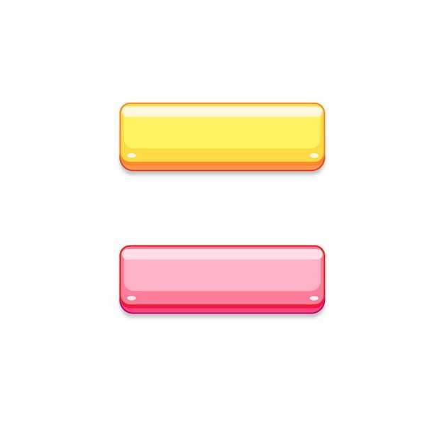 立体风格黄色和粉红色水晶按钮961560png图片素材