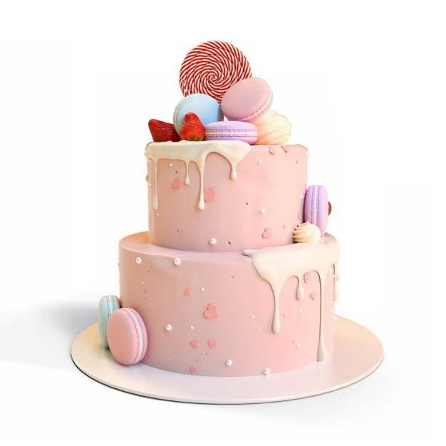 3D立体风格粉色双层蛋糕901170png图片素材