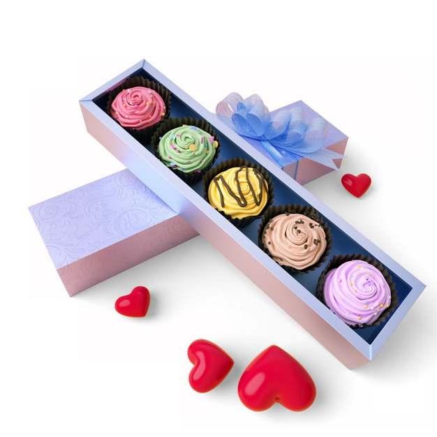 打开的礼盒中的彩色蛋糕高档食品663179png图片素材