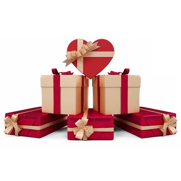 一大堆包装精美的红色和米黄色礼物盒822057png图片免抠素材