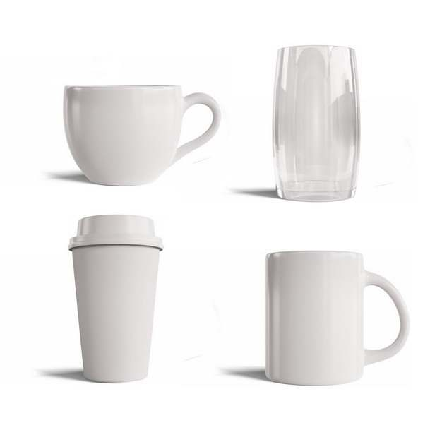 四款白色陶瓷杯咖啡杯玻璃杯水杯200733png图片素材
