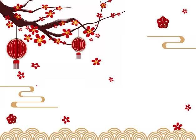 中国风梅花枝红灯笼祥云海浪装饰256244PSD图片免抠素材