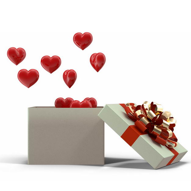 打开的白色礼物盒中飞出的红心3D立体心形772818免抠图片素材