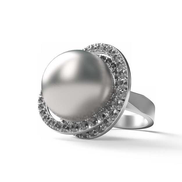 鸽子蛋大的银色镶钻珍珠戒指655731png图片素材