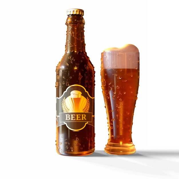 沾满水珠的啤酒瓶和啤酒杯249347png图片素材