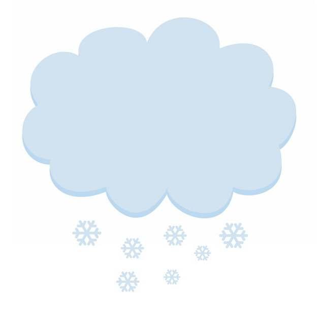 蓝色云朵下雪对话框文本框888883PSD图片免抠素材