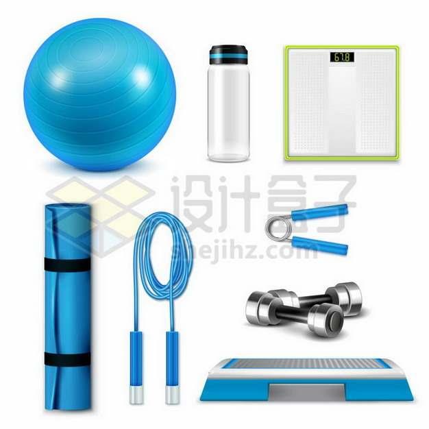 蓝色瑜伽球运动水壶体重秤瑜伽垫跳绳握力器哑铃等健身器材268848png矢量图片素材