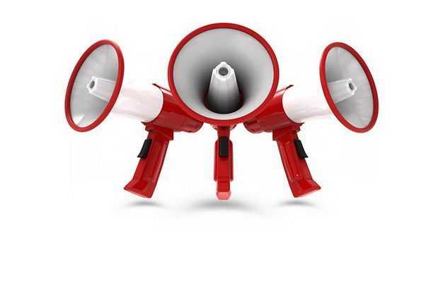 三款3D立体红白色的大喇叭扬声器247887PSD免抠图片素材