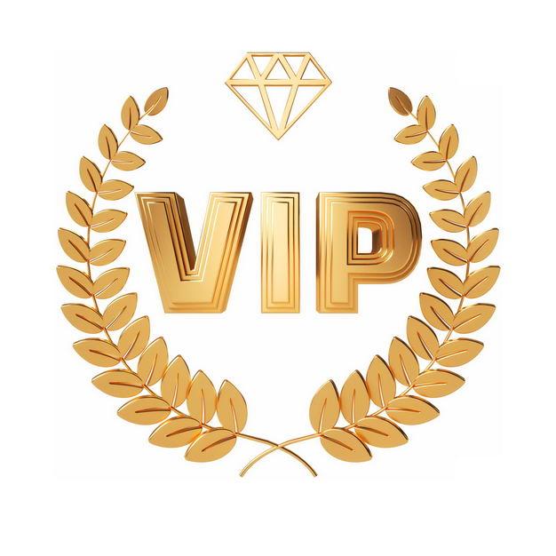 金色橄榄枝装饰的3D立体金色C4D风格VIP艺术字体9118069png图片免抠素材 电商元素-第1张