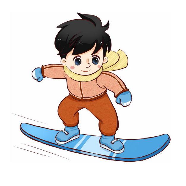 玩滑雪板的卡通男孩冬季运动会333150免抠图片素材