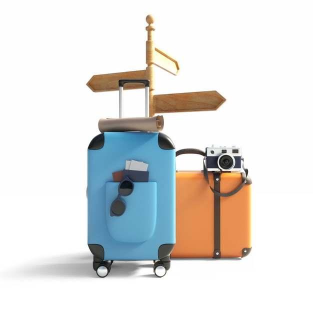 3D立体风格木制指路牌和蓝色橙色行李箱等全球旅行169820png图片素材