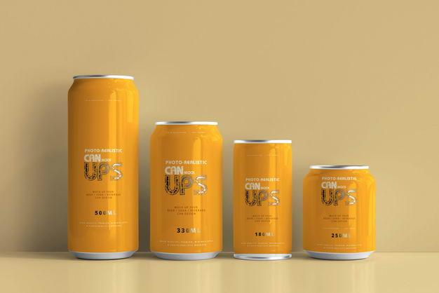 四款橙色不同容量易拉罐饮料包装显示样机635313PSD免抠图片素材 样机-第1张
