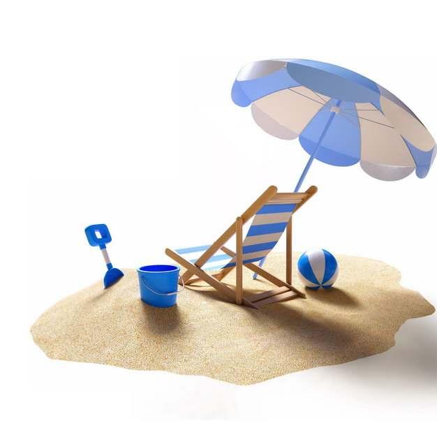 3D立体风格沙滩上的蓝白条纹色沙滩椅沙滩伞等热带旅游270066png图片素材