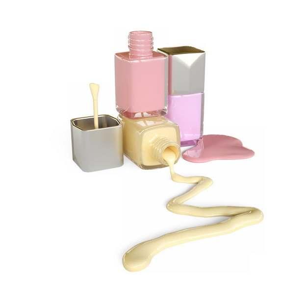 三款化妆品瓶子和彩色的化妆品液体482924png图片素材