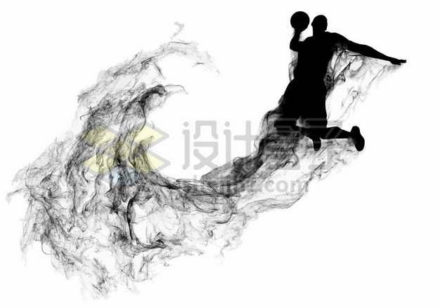 抽象创意篮球运动员打篮球剪影烟雾效果419416图片素材