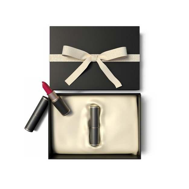 打开的黑色金色包装礼盒中的高档口红化妆品148574png图片免抠素材