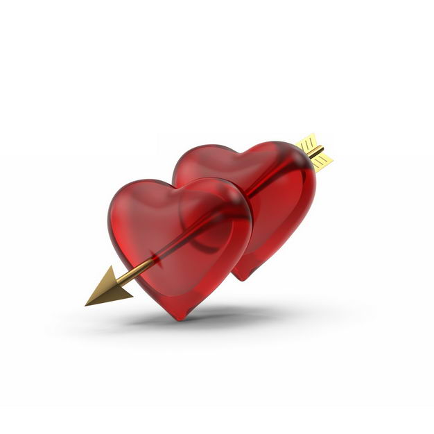 金色丘比特之箭穿过两颗红心667653免抠图片素材 节日素材-第1张