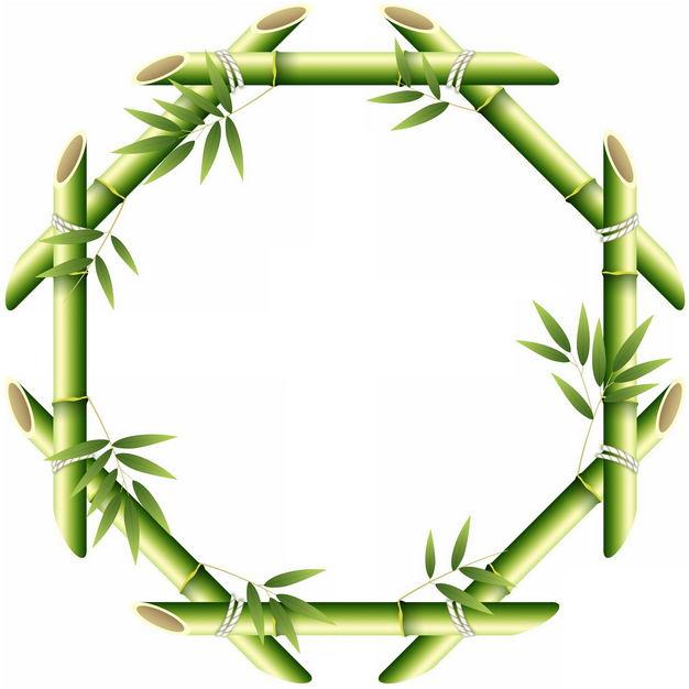 绿色竹竿竹叶竹子竹笋组成的八边形边框4805721png图片免抠素材 边框纹理-第1张