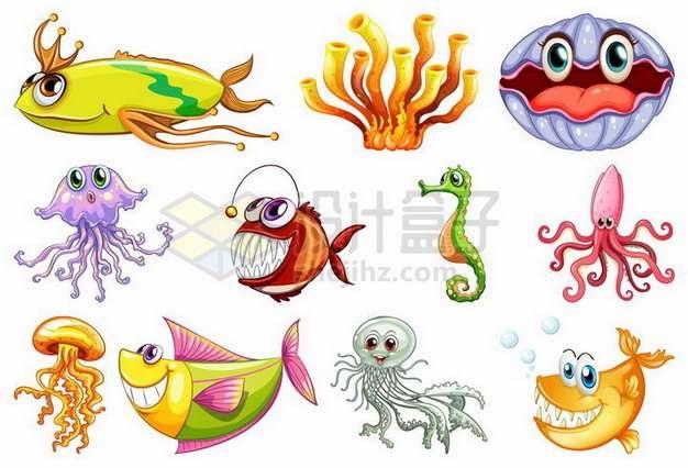 珊瑚鮟鱇鱼水母珍珠蚌乌贼海马等卡通海洋鱼类448118png矢量图片素材