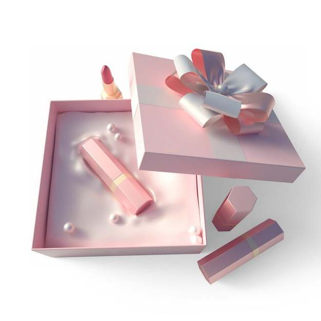 打开包装的精美粉色礼物盒中的高档口红化妆品584088png图片免抠素材