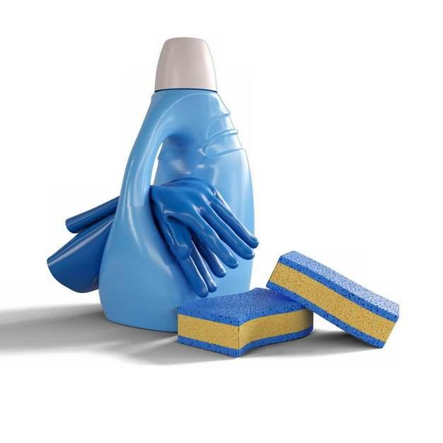 蓝色洗衣液瓶子和橡胶手套海绵百洁布海绵擦377734png图片素材