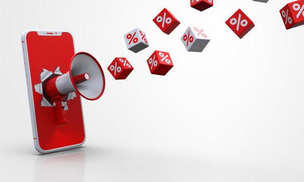 手机上的红色大喇叭发布促销消息251108PSD免抠图片素材 电商元素-第1张