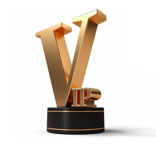 黑色底座上的3D立体金色C4D风格VIP艺术字体8634449png图片免抠素材