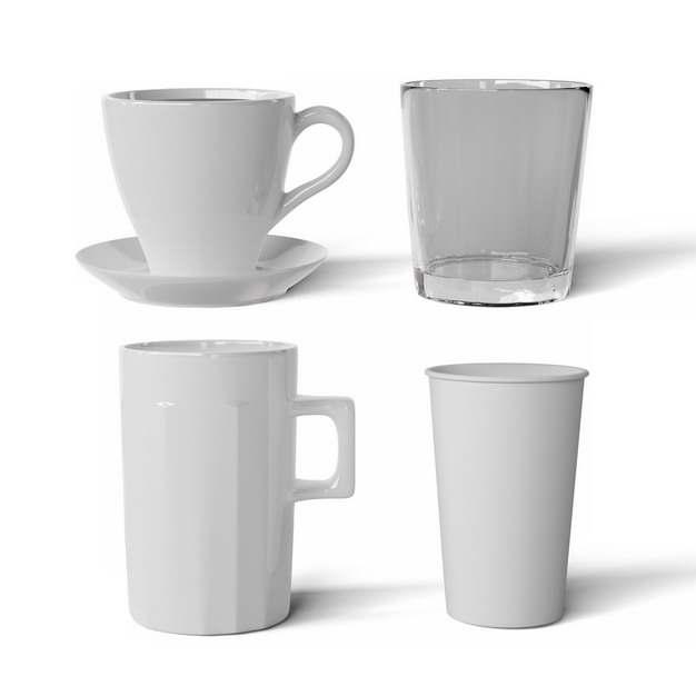 四款白色陶瓷杯咖啡杯马克杯玻璃杯喝水工具575290png图片素材