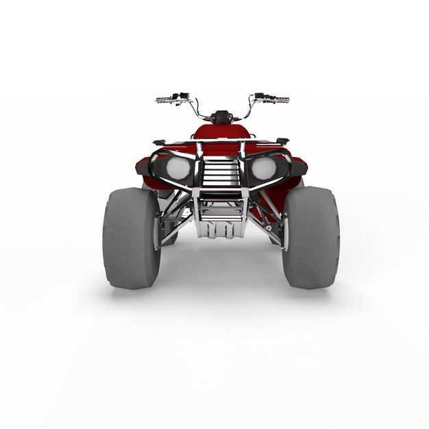 3D立体红色沙滩车四轮摩托车越野车全地形车后视图6748842png图片免抠素材