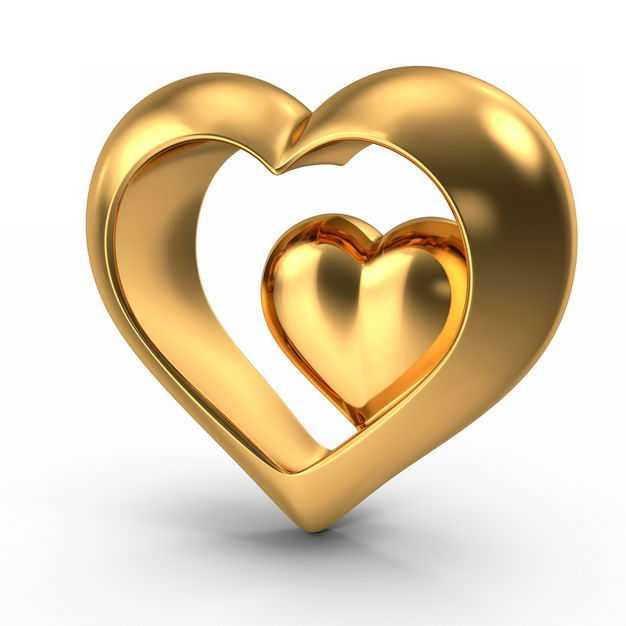 3D立体金色金属光泽心形图案952626免抠图片素材