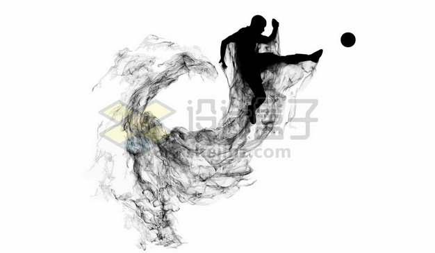 抽象创意足球运动员踢足球剪影烟雾效果430667图片素材