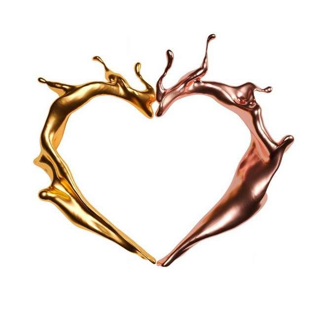 抽象金色和铜色的金属液体组成的心形图案407017png图片素材