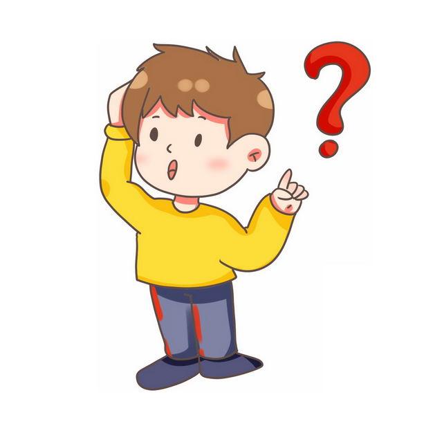 大大的问号和充满疑问的卡通男孩142872免抠图片素材 人物素材-第1张
