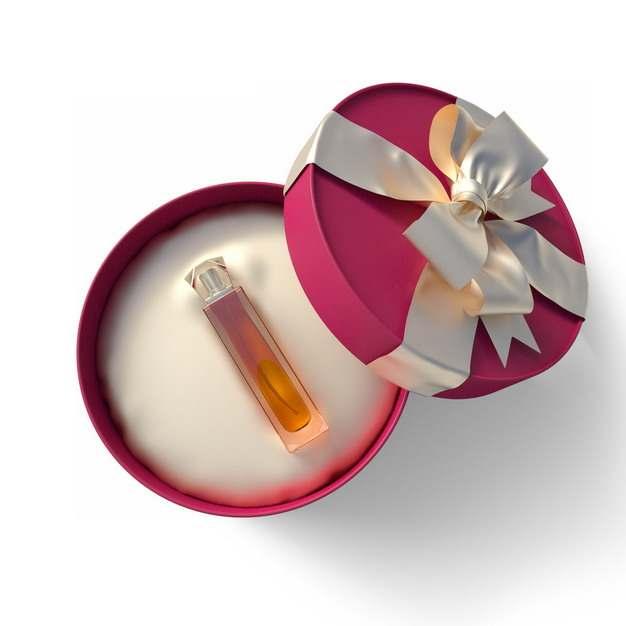 打开包装的精美红色圆形礼物盒中的高档香水675223png图片免抠素材