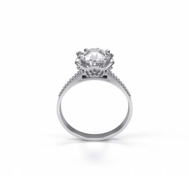 镶着钻石的银戒指钻戒首饰100082png图片免抠素材