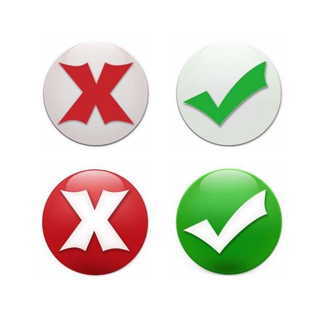 两款红色叉号绿色对号圆形水晶按钮486164PSD图片免抠素材