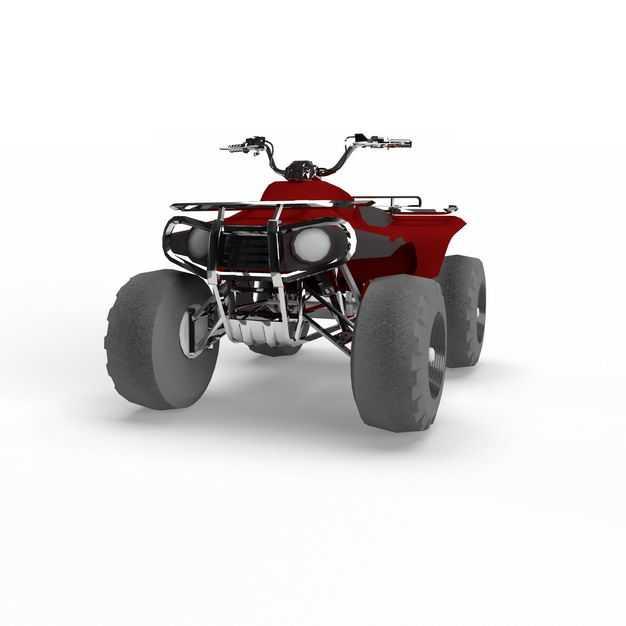 3D立体红色沙滩车四轮摩托车越野车全地形车正面图3639058png图片免抠素材