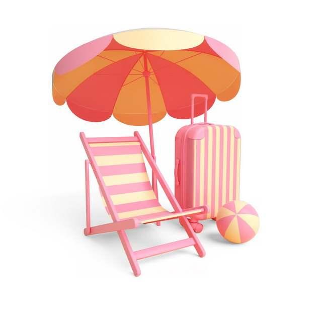 红黄色条纹相间的沙滩伞沙滩椅和行李箱等热带海岛旅游917000png图片素材